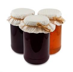 Set of three jam jars isolated