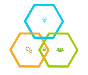 Design with hexagons for web, marketing or presentations