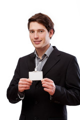 Elegant man with businesscard