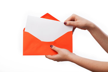 White letter in orange envelope