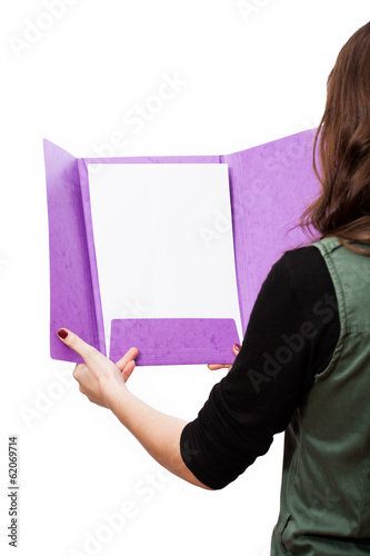 Purple file with white page