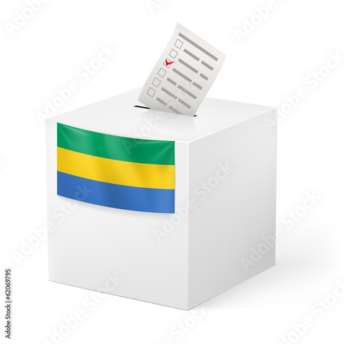 Ballot box with voting paper. Gabonese Republic