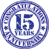 Cogratulations 15 years anniversary grunge rubber stamp, vector
