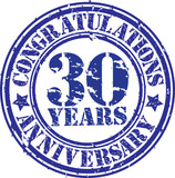 Cogratulations 30 years anniversary grunge rubber stamp, vector