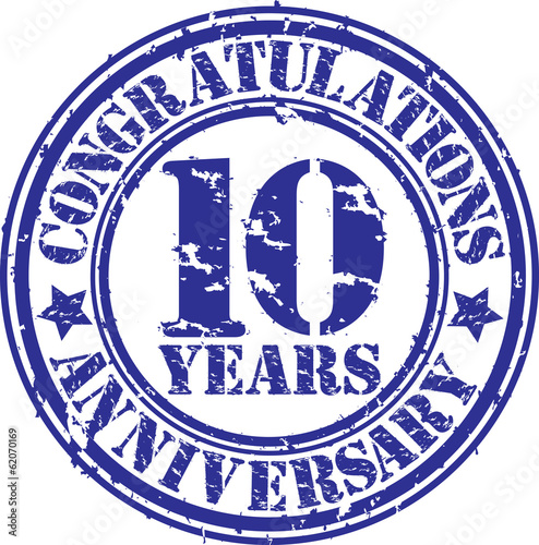 Cogratulations 10 years anniversary grunge rubber stamp, vector