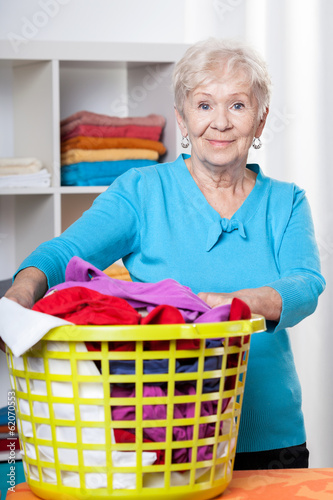Elderdly lady with washing