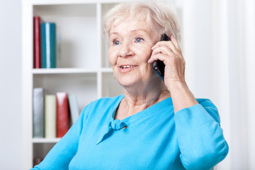 Senior woman talking on mobile phone