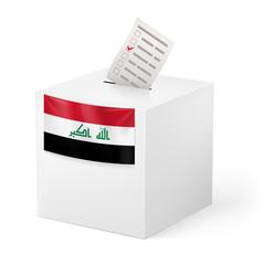 Ballot box with voting paper. Iraq