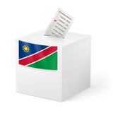 Ballot box with voting paper. Namibia
