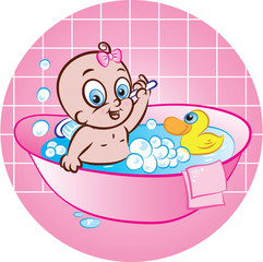 happy baby girl in tub