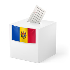 Ballot box with voting paper. Moldova