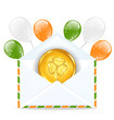 Envelope with golden coin and colorful balloons for St. Patrick'