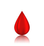 Red blood drop with reflection, isolated on white background