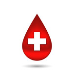 Red blood drop with cross, isolated on white background