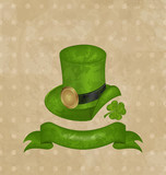 Green hat, clover, ribbon in saint Patrick Day