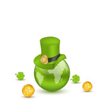 Planet Earth with hat, clovers and coins in saint Patrick Day. I