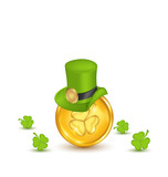 Background with hat, clovers and coins in saint Patrick Day