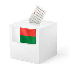 Ballot box with voting paper. Madagascar