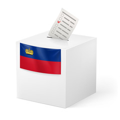 Ballot box with voting paper. Liechtenstein