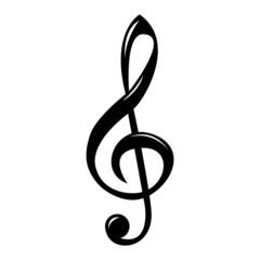 Black clef isolated on a white background