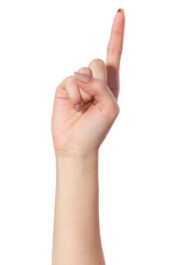 Woman index finger on a white background