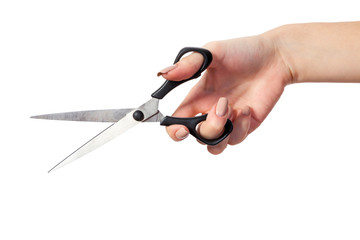 Hand is holding scissors isolated