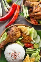 Ayam Penyet rice