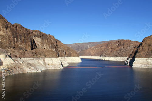 View of the Lake Mead from Hoover Dam in Nevada, USA