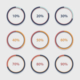 Circle chart, graph, infographic percentage templates