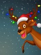 Cute deer cartoon with bulb and red hat
