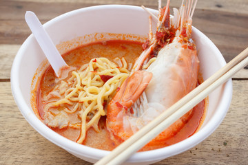 Egg noodle spicy soup with shrimp