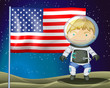 An explorer beside the flag of America