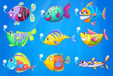 Nine colorful fishes under the sea