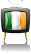 A television showing the flag of Ireland