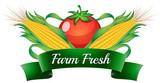 A farm fresh label with sweetcorns and a tomato