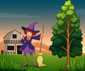 A pretty witch at the farm
