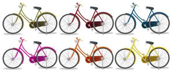 Six colorful bikes