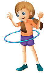 A pretty teenager playing with the hulahoop