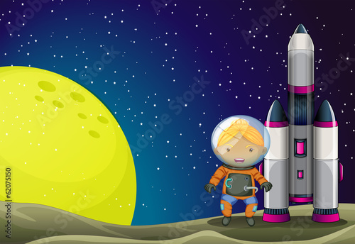 An astronaut standing beside the rocket near the moon