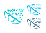 "Abstract umbrella symbol for ""Pray for Rain"" campaign"