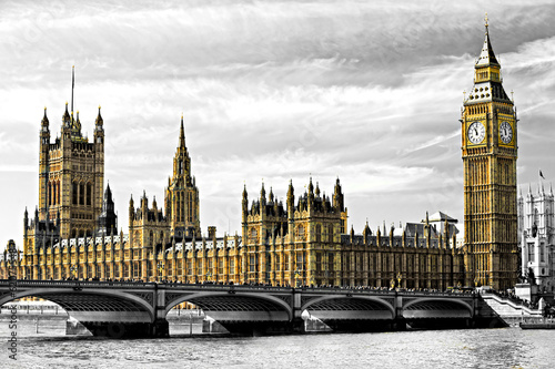 The Big Ben, the House of Parliament and the Westminster Bridge,