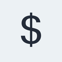 Dollar Flat Icon with shadow. Vector EPS 10.