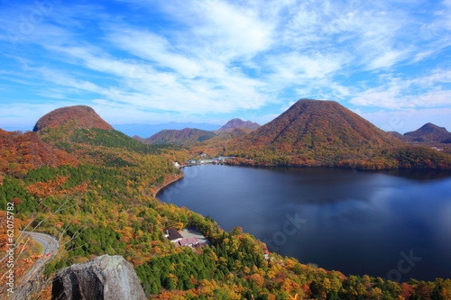 Autumn colours of Mt. Haruna and lake
