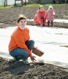 women  covers  soil a polyethylene film