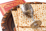 passover background. passover plate and matzoh