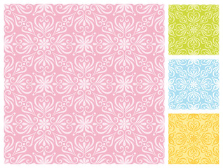 Seamless floral pattern in different pastel color schemes