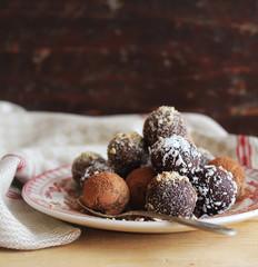 Set of dark and milk chocolate truffles