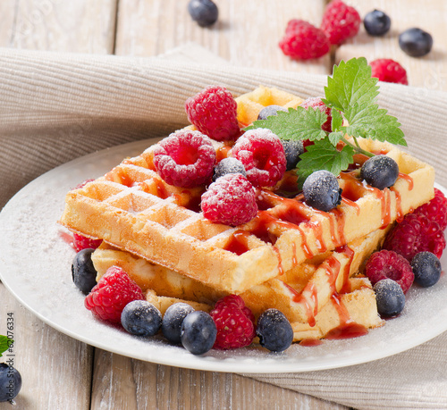 waffles with blueberries and raspberries