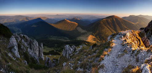 Slovakia mountain peak Rozsutec at sunset - panorama