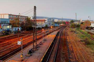 Railroad train platform at night